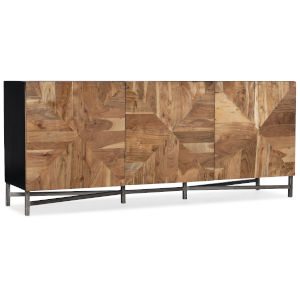 Ely Natural Wood with Black Entertainment Console