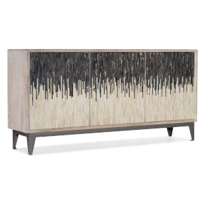 Light Wood Three-Door Entertainment Console