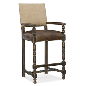 Hill Country Black and Beige Comfort Barstool