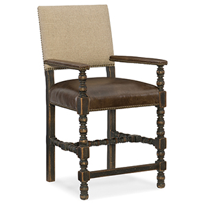 Hill Country Black and Beige Comfort Counter Stool