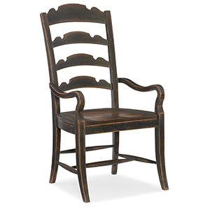 Hill Country Twin Sisters Black Ladderback Arm Chair