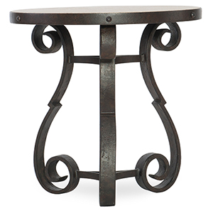 Hill Country Luckenbach Metal and Stone Black End Table