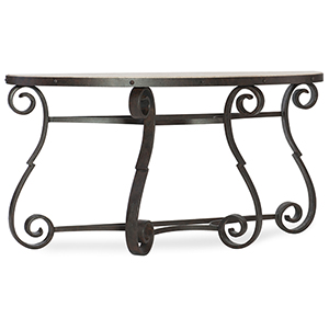 Hill Country Luckenbach Metal and Stone Black Demilune Console