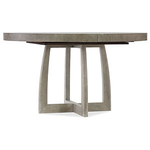 Affinity Gray 48-Inch Round Pedestal Dining Table with One 18-Inch Leaf