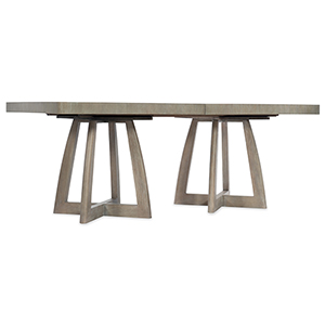 Affinity Gray 78-Inch Rectangle Pedestal Dining Table with Two 18-Inch Leaves