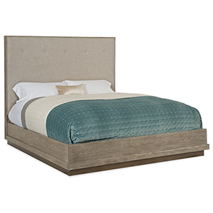 Pacifica Light Wood King Upholstered Bed