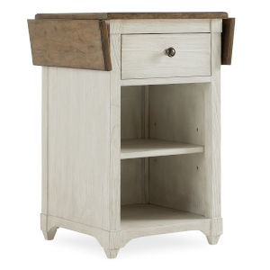 Montebello Danish White and Carob Brown Nightstand Accent Table