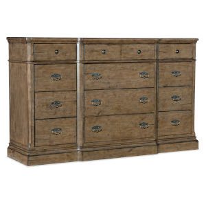 Montebello Carob Brown Twelve-Drawer Dresser