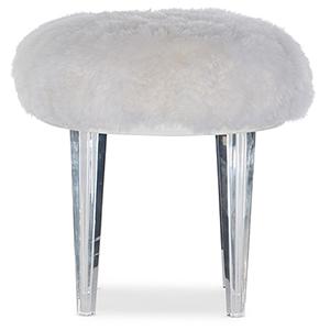 Melange White Giselle Acrylic Leg Pouf