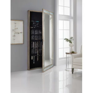Melange McAlister Silver Floor Mirror with Jewelry Storage