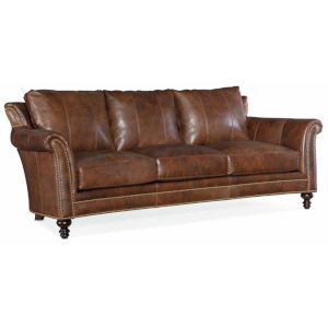 Richardson Cognac Brown 91-Inch Stationary 8-Way Tie Sofa