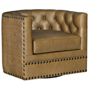 Lennox Brown Leather Tufted Swivel Chair