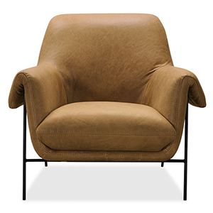 Brown Ambroise Metal Frame Club Chair