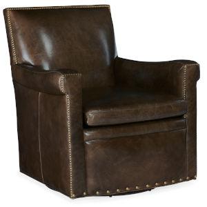 Jilian Dark Brown Swivel Club Chair
