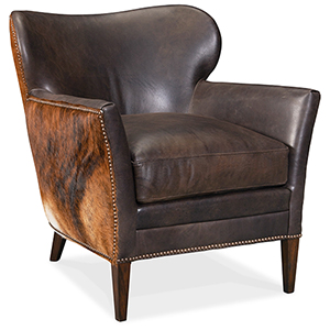 Kato Brown Leather Club Chair with Dark Brindle