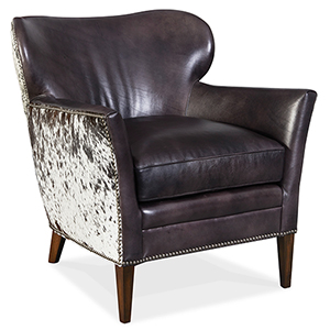 Kato Black Leather Club Chair with Salt Pepper Brindle