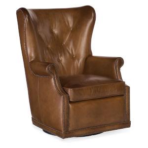 Maya Brown Wing Swivel Club Chair