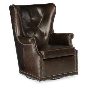 Maya Dark Brown Wing Swivel Club Chair