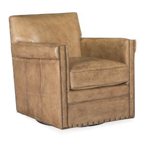 Potter Brown and Beige Swivel Club Chair
