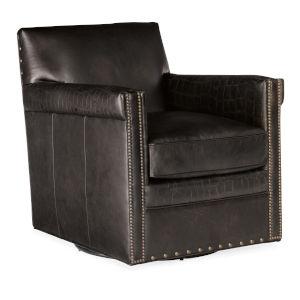 Potter Dark Brown Swivel Club Chair