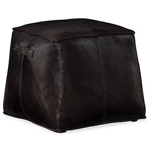 Dizzy Black Leather Ottoman