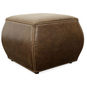 CO Brown 24-Inch Leather Ottoman