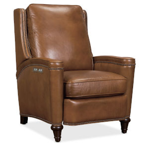 Rylea Wood Brown Power Recliner with Power Headrest