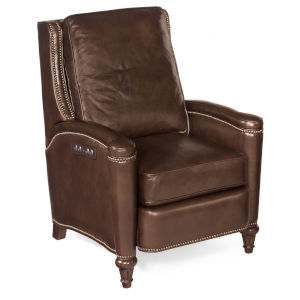Rylea Dark Wood Power Recliner with Power Headrest