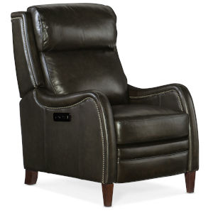Stark Dark Wood Gray Power Recliner with Power Headrest