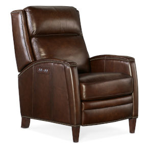 Declan Dark Wood Power Recliner with Power Headrest