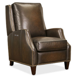 Kerley Dark Wood Power Recliner with Power Headrest