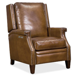 Collin Dark Wood Power Recliner with Power Headrest