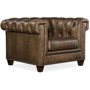 Brown Chester Tufted Stationary Chair