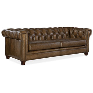 Light Brown Chester Tufted Stationary Sofa