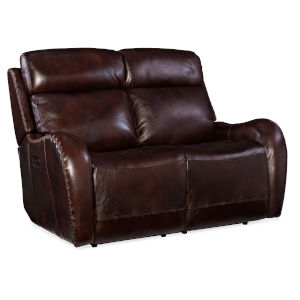 Brown 58-Inch Loveseat with Power Headrest