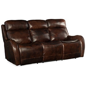 Chambers Brown Power Recliner Sofa with Power Headrest