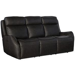 Sandovol Black Power Recliner Sofa with Power Headrest