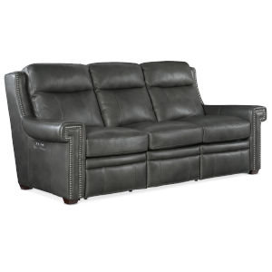 Mulberry Dark Wood Gray Power Sofa with Power Headrest