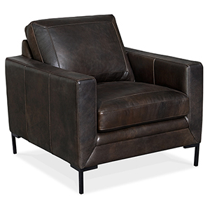 Coltrane Black Leather Stationary Chair