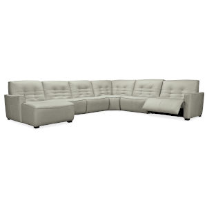 Reaux Grandier Gray Leather Six Piece LAF Chaise Sectional Sofa with Two Power Recliner Sections
