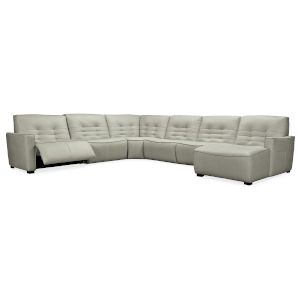 Reaux Grandier Gray Leather Six-Piece RAF Chaise Sectional with Two Power Recliner Sections