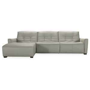Gray Reaux Power Motion Sofa with Left Facing Chaise and Two Power Recliners