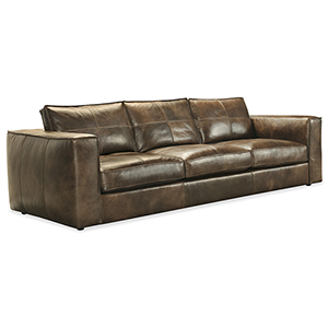 Solace Brown Leather Stationary Sofa