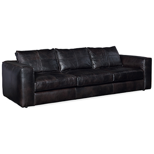 Solace Black Leather Stationary Sofa