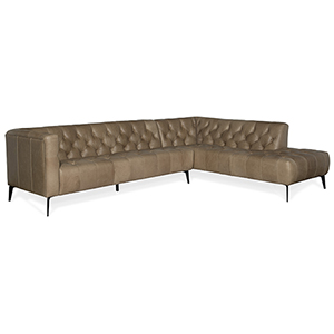 Nicolla Black Right Bumper Leather Stationary Sectional