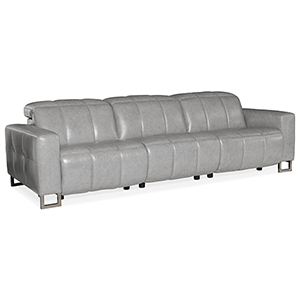 Giancarlo Gray Motion Leather Sofa with Power Headrest