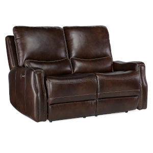 Gage Brown Power Recline Leather Loveseat with Power Headrest