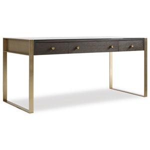 Curata Dark Wood and Gold Writing Desk