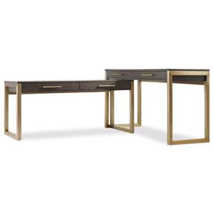 Curata Dark Wood and Gold Short Left, Right, Freestanding Desk