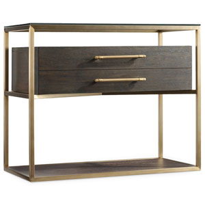 Curata Dark Wood and Gold One-Drawer Nightstand